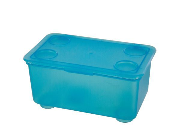 "Mini Stackable Storage Box, 24 - Great for storing craft supplies, toys, knick-knacks and more, this Mini Stackable Storage Box features a small rectangular box with a hinged snap-on lid and four circular feet. Boxes can be stacked for smart, space saving storage. Measures approximately 6.75"" x 4.125"" x 3.25"". Comes loose with a UPC label.-Colors: blue. Material: plastic. Weight: 0.5417/unit"