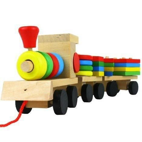 Shape Of Three Section Blocks Cars Small Tractor Train Environmental Protection Wooden Toy thomas Train toys for children S54