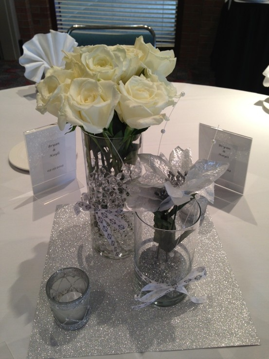 Look at these cute DYI centerpieces from a rehearsal dinner. They used a piece of glitter scrapbook paper to put the vases on. So clever.