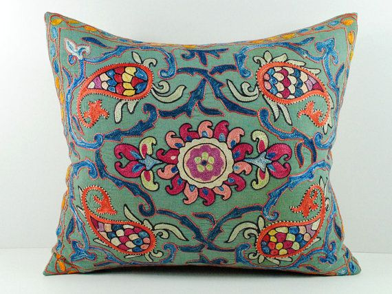 Vintage Hand Embroidered Uzbek Suzani Pillow MSP4_03 by islimi, $59.89