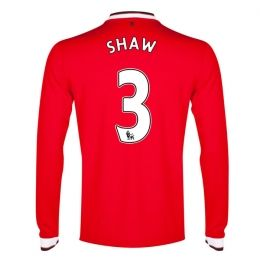 Manchester United 2014-15 Season Shaw #3 Home Long Sleeve Jersey [A538]
