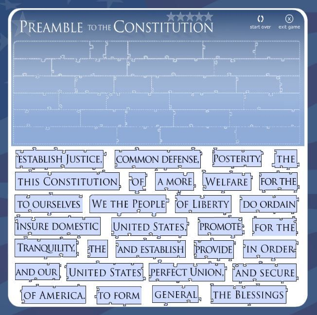 Celebrate Constitution Day every day!  This interactive puzzle game challenges grade 3-8 students to correctly arrange the Preamble to the U.S. Constitution in the correct order. Students must use prior knowledge and puzzle clues to complete.