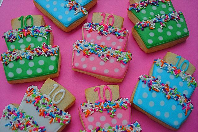 Happy Birthday cake cookies - like the sprinkles!