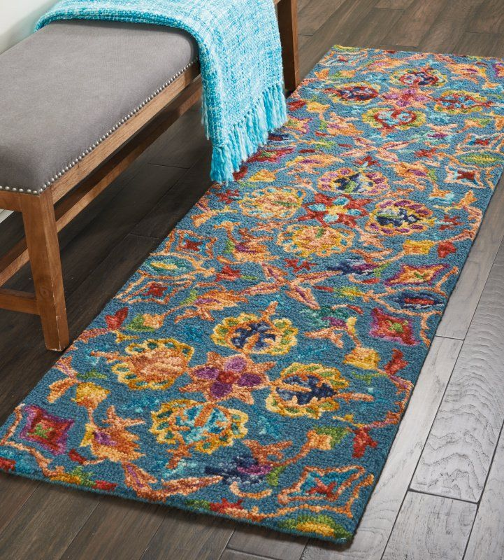 Zosia Hand Tufted Wool Teal Area Rug Teal Area Rug Area Rugs Rugs