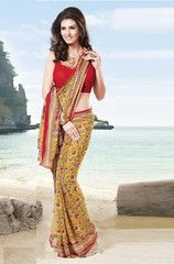 #Yellow and #red  colour #Georgette #saree #sari