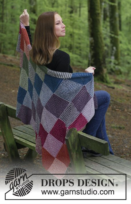 Autumn Nights / DROPS 184-13 - Knitted blanket with domino squares in stripes and garter stitch. Piece is knitted in DROPS Alpaca.
