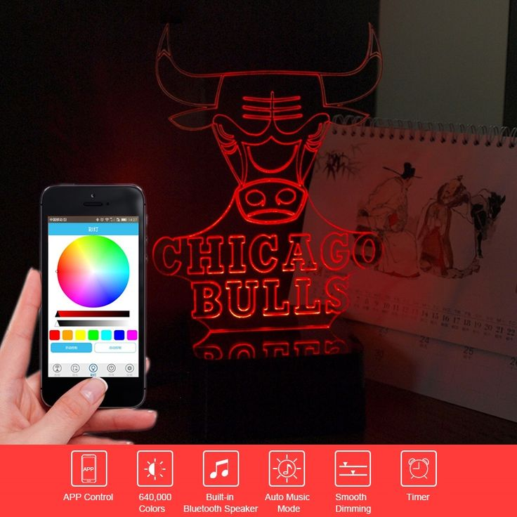 (37.09$)  Buy here - http://aiqbu.worlditems.win/all/product.php?id=32773996411 - 3D Music Lampara Novelty Gift NBA Bull Touch Desk Lamp Colorful Light Bluetooth Speaker Led Nightlihgt as Beside Lamp Home Decor