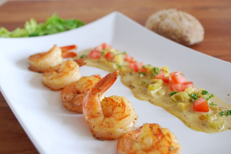Scampi met curry, appel en selder