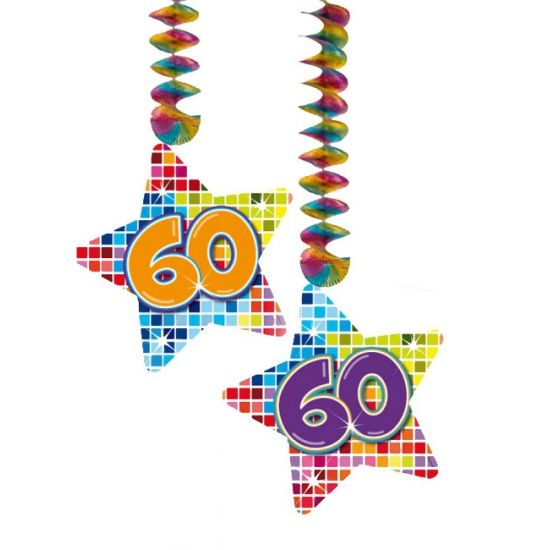 Hangdecoratie sterren 60 jaar. Hangdecoratie in de vorm van sterretjes met het getal 60. De decoratie is verpakt per 2 stuks en is ongeveer 13,3 x 16,5 cm groot.