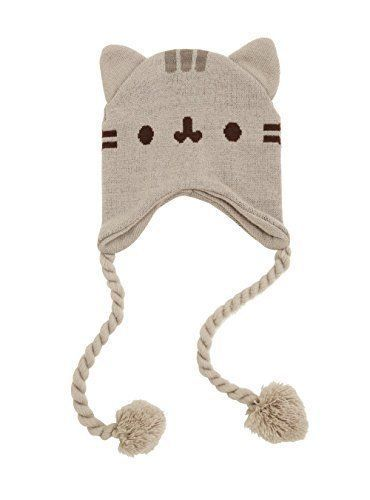 e52bf67df9e Pusheen Cat Face Ears Beanie - Pusheen the Cat Beanie Hat - Grey with  Tassels  fashion  clothing  shoes  accessories  costumesreenactmenttheater  ...