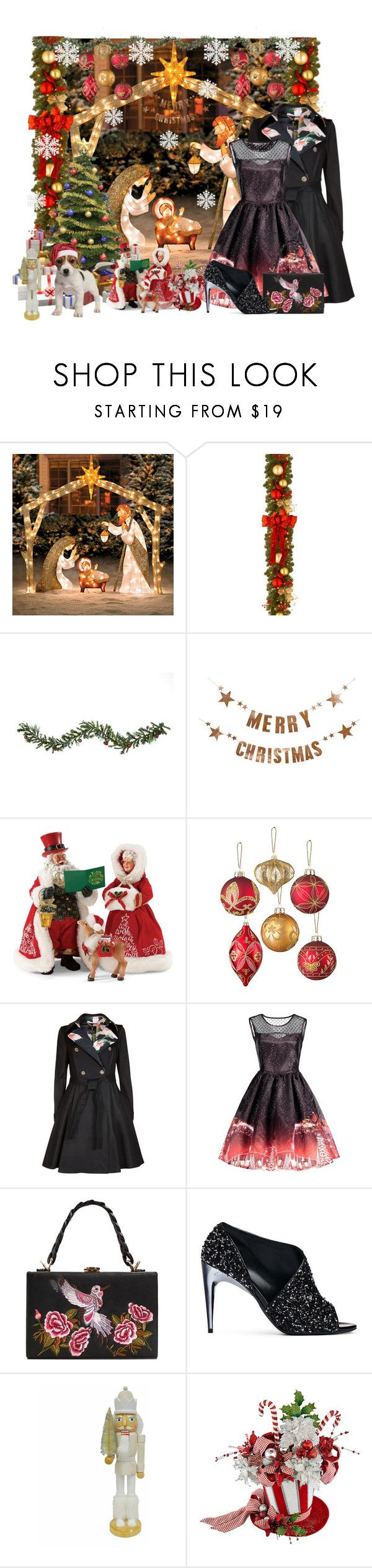 """""""Untitled #139"""" by kjkrios ❤ liked on Polyvore featuring Improvements, National Tree Company, Bloomingville, Department 56, Ted Baker, MANGO, La Perla, St. Nicholas Square and Frontgate"""