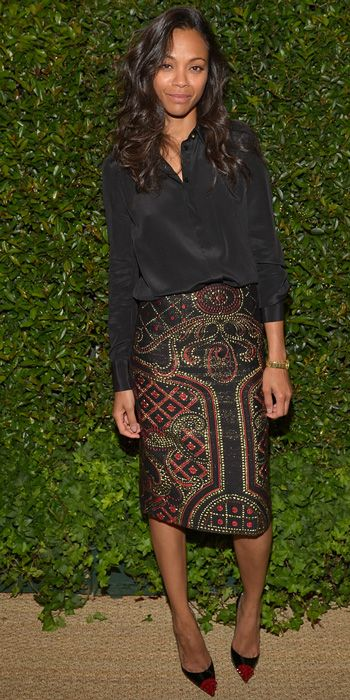 Zoe Saldana - Black Silk Shirt, embellished Skirt, black Pumps, Simple Chic formula