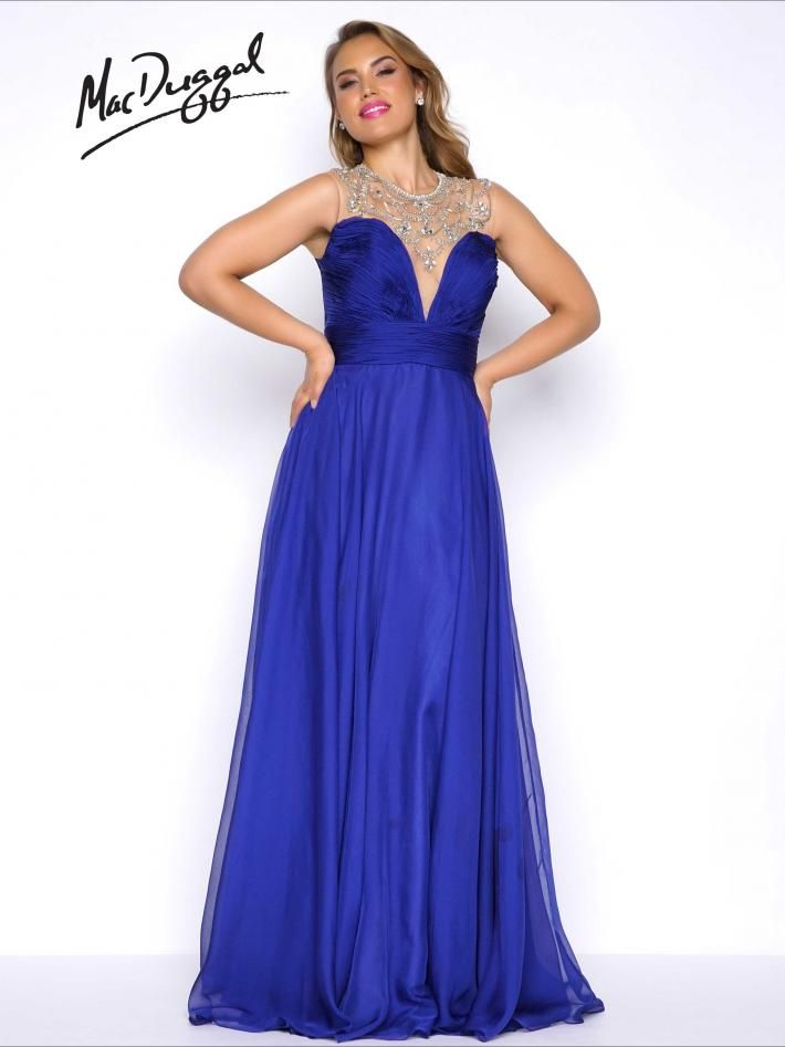 Empire Waist Plus Size Prom Dress | Mac Duggal 65484F  Plunging embellished illusion neckline, with empire waist and ruched chiffon bodice. Features an overskirt with satin lining.  Available in Midnight and Lipstick.
