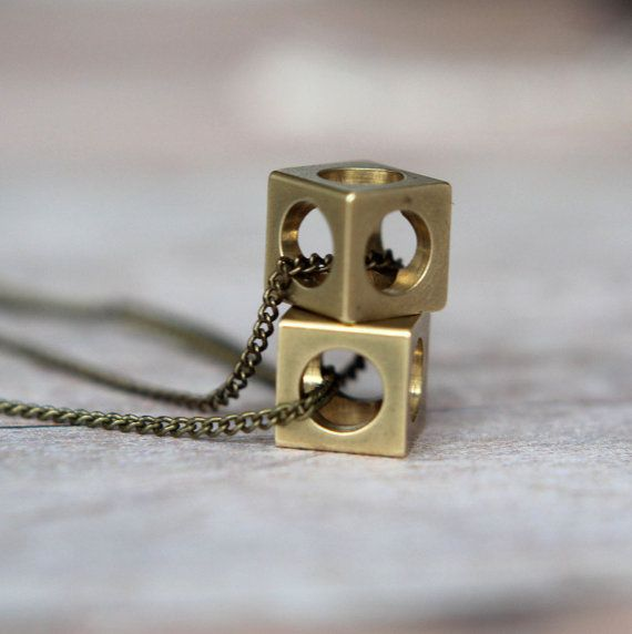 CIJ Industrial Cubes Pendant Set - Geometric Machine Cut Raw Brass Cubes - Brass Chain - Squares, Circles - Gift Box on Etsy, $34.20
