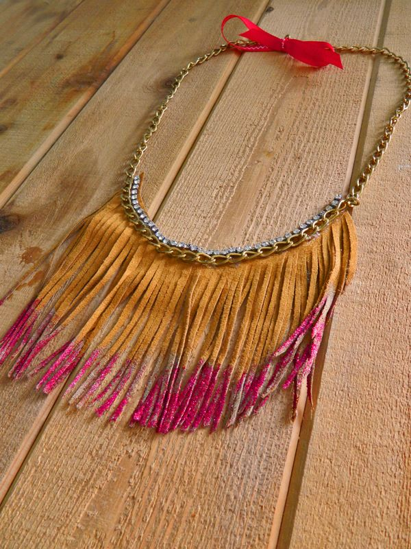 DIY Leather Fringe Necklace: interesting starting point as inspiration.
