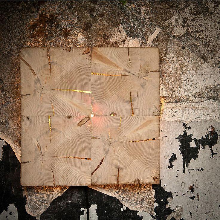 W1 Altholz Wand-/Deckenleuchte mit flächigem Licht / Braun  47358
