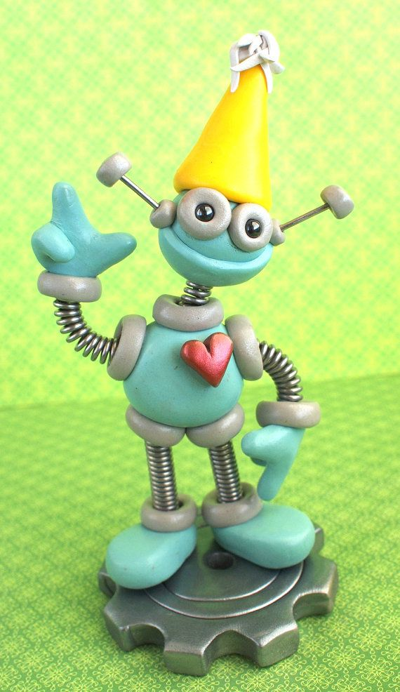 First 1st Birthday Robot Cake Topper  Blue by RobotsAreAwesome, $35.00