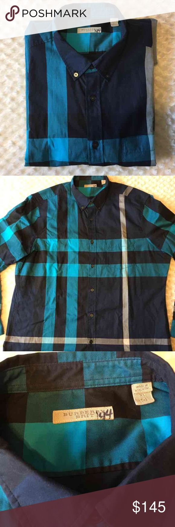 New authentic burberry shirt for men XL New without tags never worn authentic burberry shirt size xl blue color 100% cotton original price is 295$ Burberry Shirts Casual Button Down Shirts