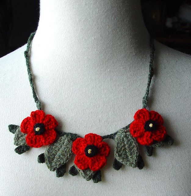 Crochet Red Poppies Poppy Flowers Necklace Cashmere