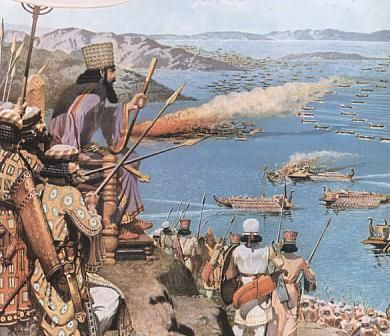 Account of Xerxes witnessing the battle of Salamis between an Alliance of Greek city-states and the Persian Empire in September 480 B.C., in the straits between the mainland and Salamis, an island in the Saronic Gulf near Athens. It marked the high-point of the second Persian invasion of Greece which had begun in 480 B.C.