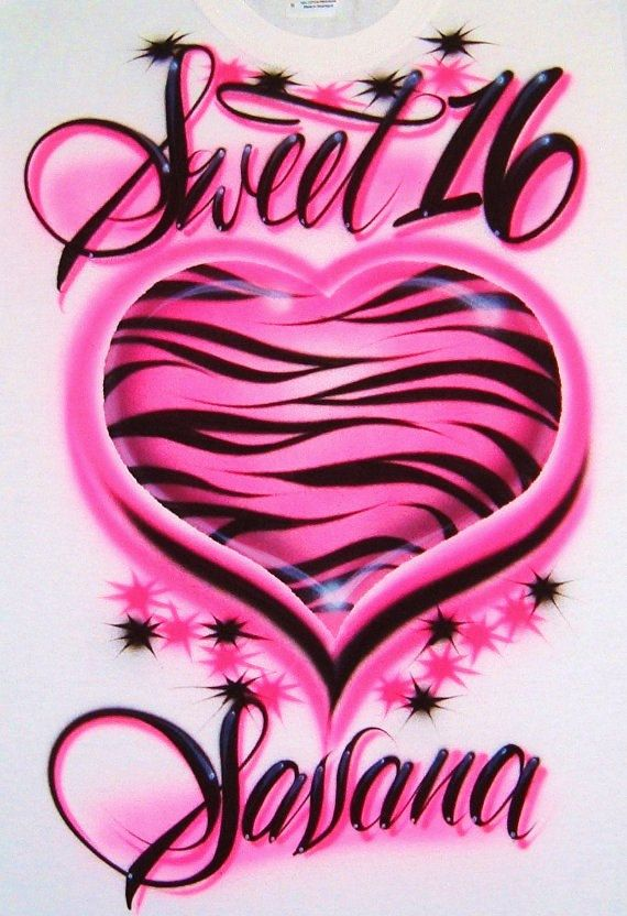 Airbrush T Shirt Zebra Heart Sweet 16 and Custom by BizzeeAirbrush, $19.99