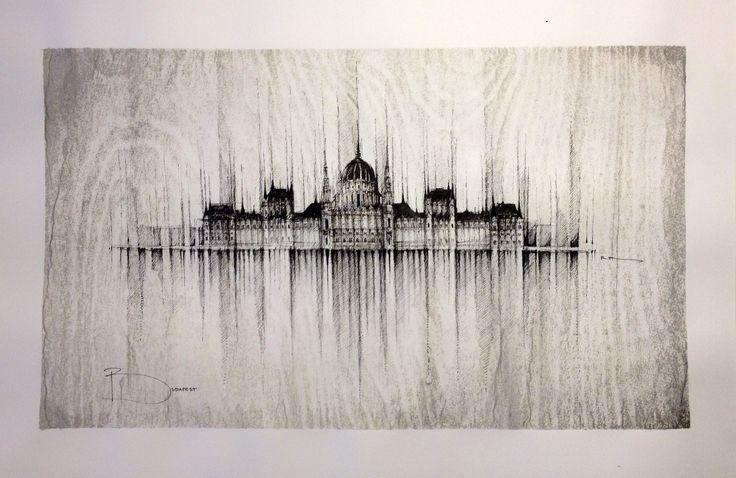 BUDAPEST PANORAMA  Drawing on paper, Black Ink, 50x32cm,   © Pavel Filgas 2015  #budapest #drawings #architecture #citydrawing #art #parliament #Országház #panorama #skyline #pavelfilgas #creativity #filgas