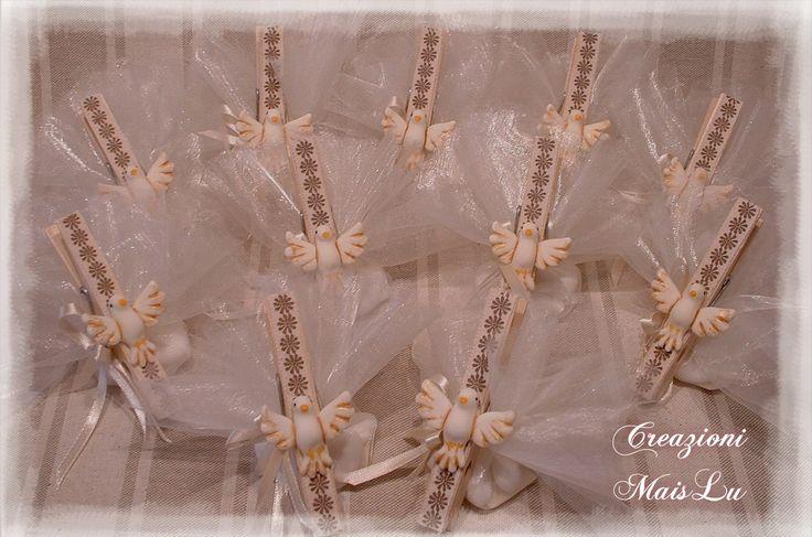 Mollette chiudisacchetti con colombina Santa Cresima