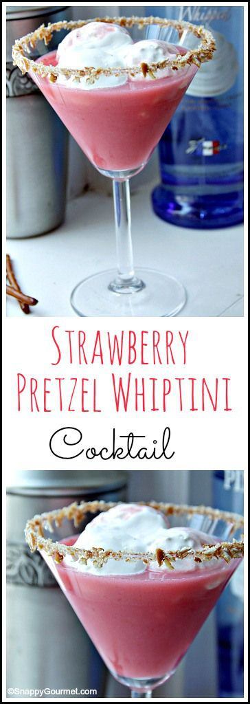 Strawberry Pretzel Whiptini cocktail recipe - easy drink based on the fun strawberry pretzel dessert! SnappyGourmet.com