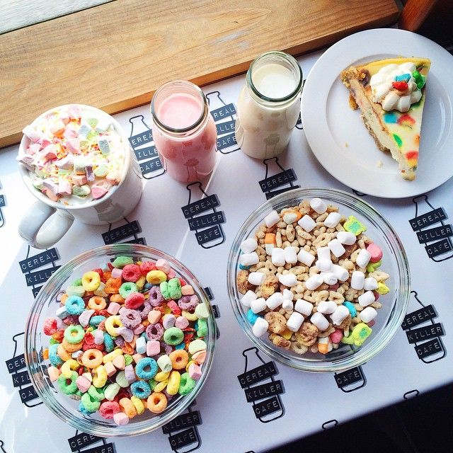 Cereal Killer Cafe :: Fruity pebbles n fruit loops w/ rainbow marshmallows // Lucky charm cheesecake, allthosecereal