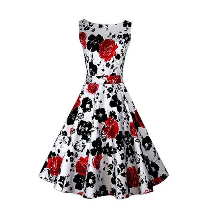 YARBAR Vintage 1950 di stile senza maniche con stampa floreale delle donne Rockabilly partito Altalena Vestito rosso: Amazon.it: Abbigliamento