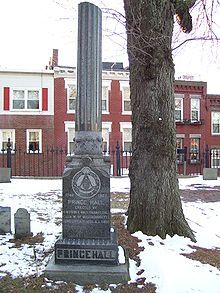 Prince Hall's grave, Boston.   On March 6, 1775, an African American named Prince Hall was made a Master Mason in Irish Constitution, He was free by birth. The African Americans were given the authority to meet as a Lodge, form Processions on the days of the Saints John, and conduct Masonic funerals, but not to confer degrees nor to do other Masonic work. They  applied for and obtained a Warrant for Charter from the Grand Lodge of England in 1784 and formed African Lodge #459.