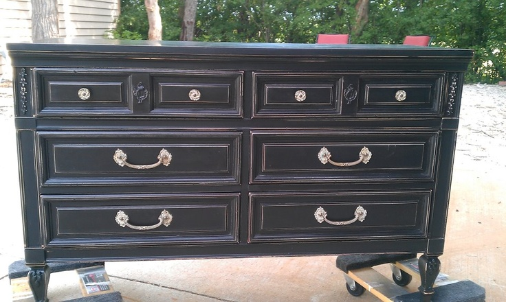 Beautiful Black Distressed Dresser
