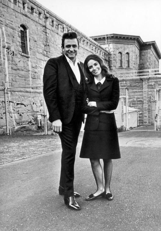 Johnny Cash and June Carter in front of Folsom State Prison, California in 1968.
