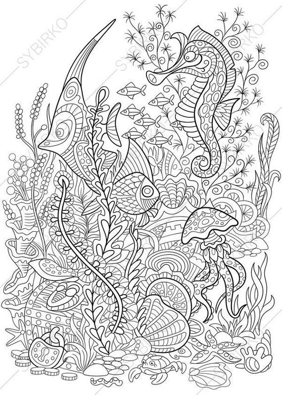 Sale Coloring Page For Adults Digital Coloring Page Sea Etsy Ocean Coloring Pages Coloring Pages Animal Coloring Pages