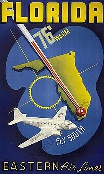 Florida vintage air travel poster