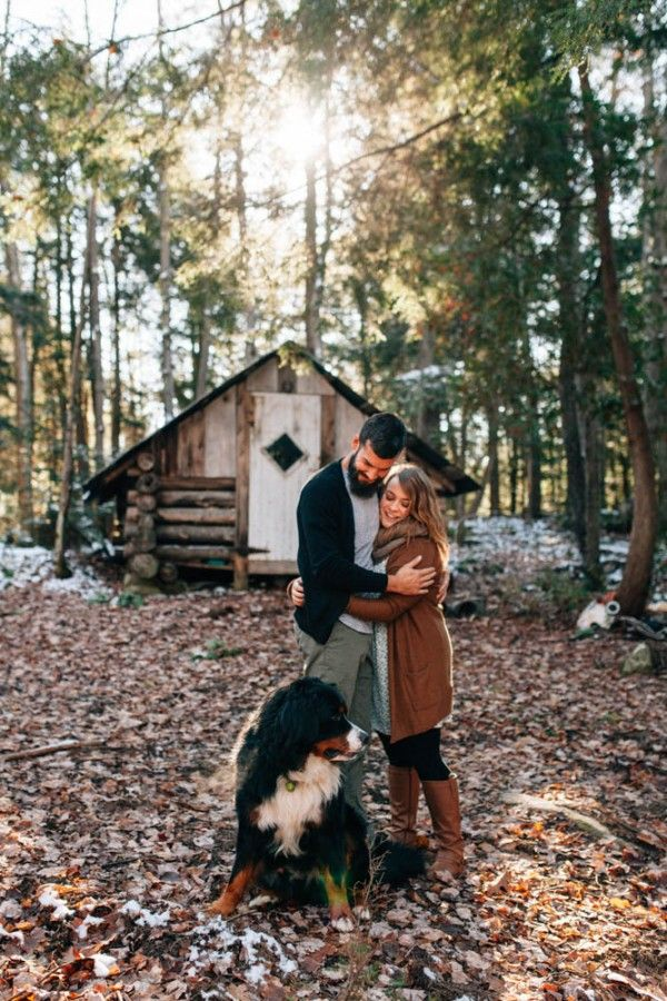 Fall leaves, a cute dog, and beautiful light have us loving this cozy engagement session with Isos Photography