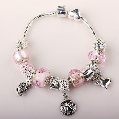 rosa pulseira de charme para as mulheres de estilo europeu pulseiras artesanais frisado – BRL R$ 13,76