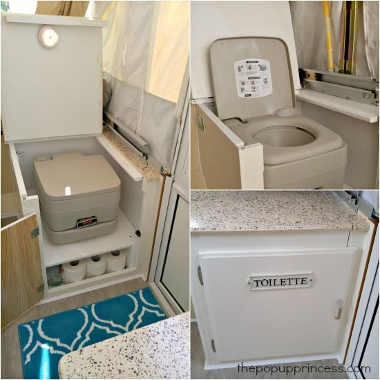 No toilet in your pop up camper? No problem! Retrofit an existing cabinet to accommodate a portable potty.