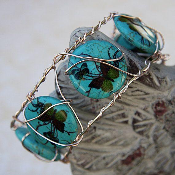 Butterfly Cuff Bracelet, Wire Wrap Cuff Bracelet, Butterfly Print Bracelet, Spring Jewelry, Handcrafted Cuff Bracelet
