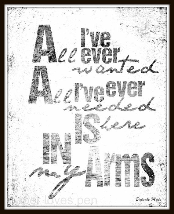 Depeche Mode song lyric art, Enjoy The Silence song lyric print art. lyric Art Quote 8X10 Typography Poster Print