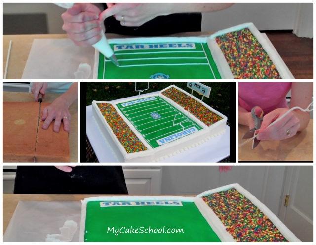 Awesome football stadium cake - and how to.: Football Cakes, Cakes Gooooooooooo Dawg, Par Tay Cakes, Hooti Cakes, Cakes Someday, Cakes Decor, Bday Cakes, Cakes Blu, Sheetcake Genius