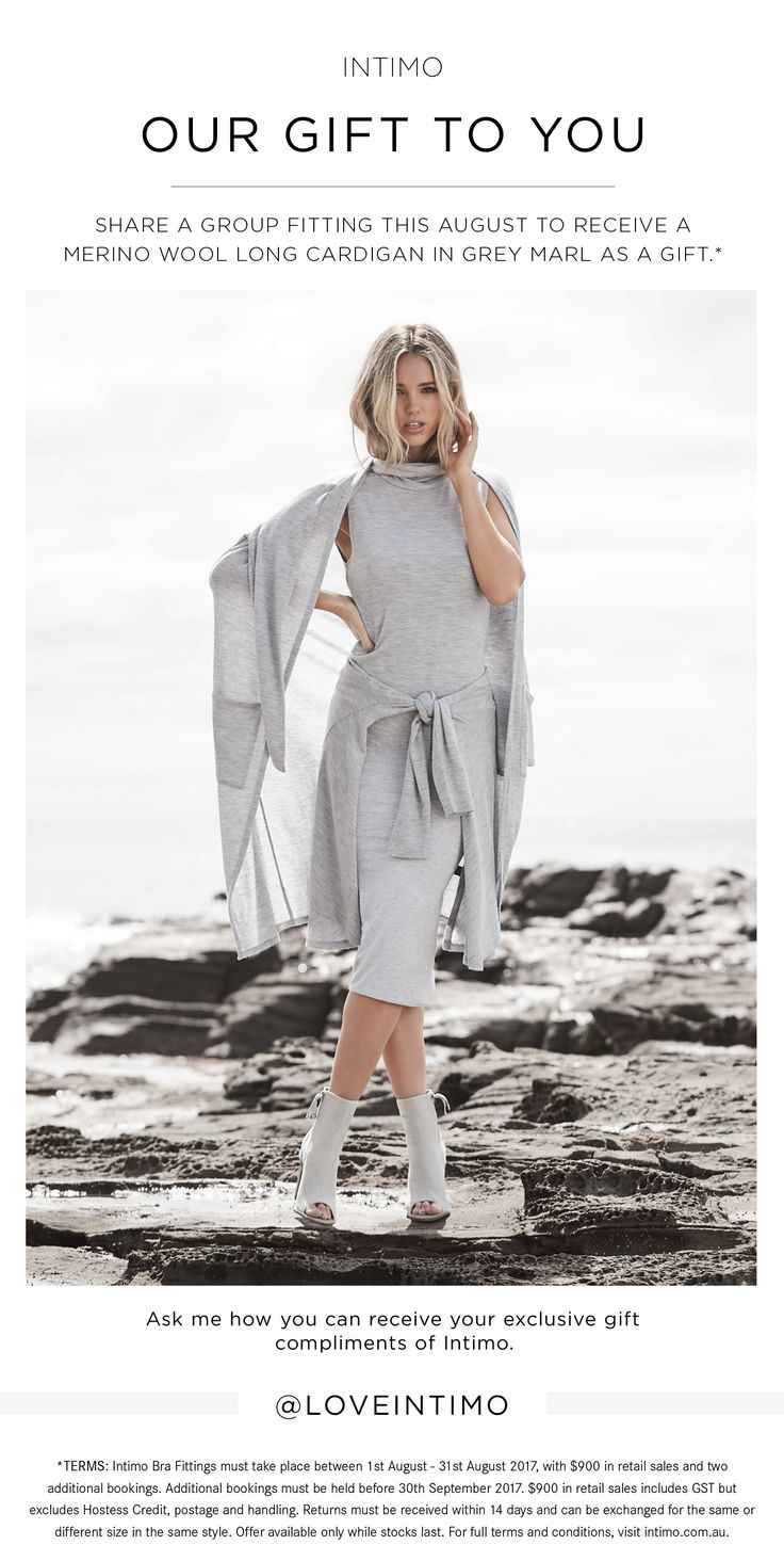 Intimo VIP // August's sensational host gift - the best selling Grey Marl Long Cardigan. www.intimo.com.au