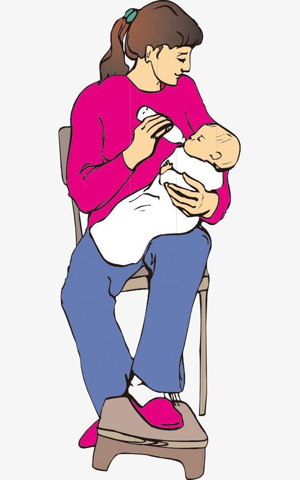 المثال التوضيحي الأم يغذي الزجاجة Baby Cartoon Cartoon Illustration Mother Feeding