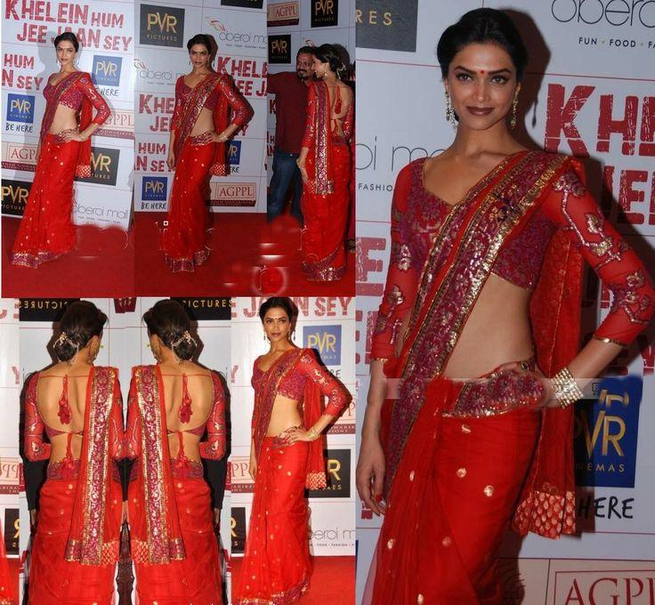 Deepika Padukone Style Red Saree - the most beautiful indian actress ever