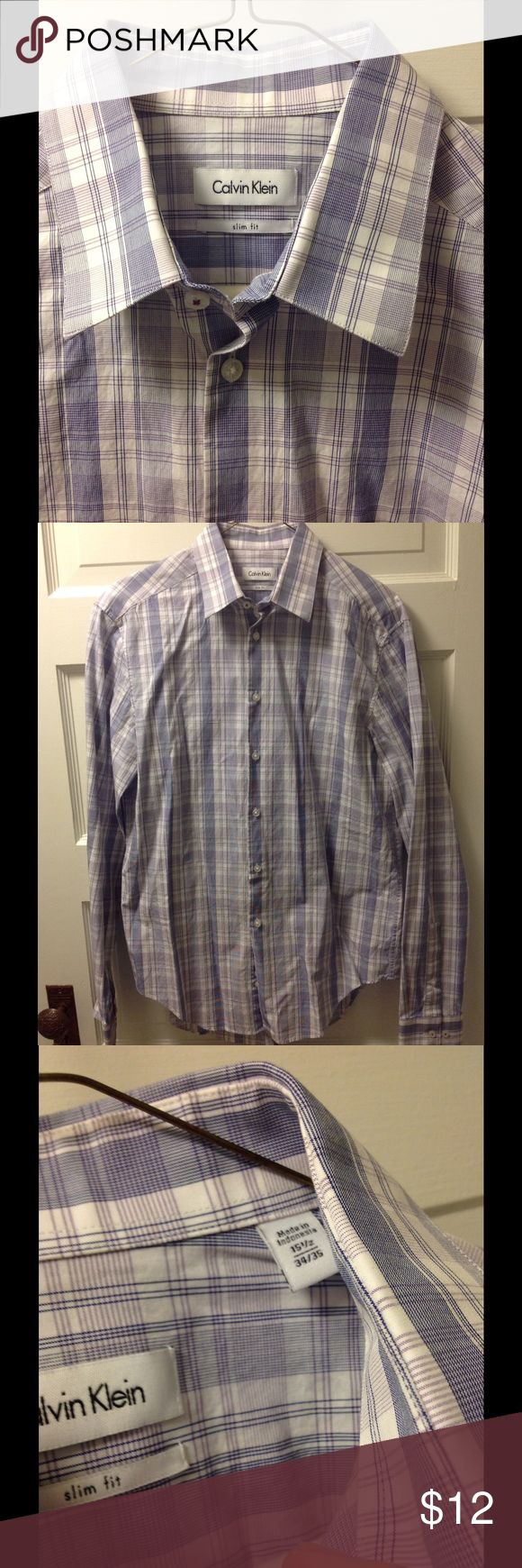 Calvin Klein dress shirt. Slim fit. Like new Slim fit dress shirt size 15.5 34/35. Worn one time, doesn't fit... like new condition 10/10 (only because I don't consider it new since I wore it once). Thanks for looking! Calvin Klein Shirts Dress Shirts
