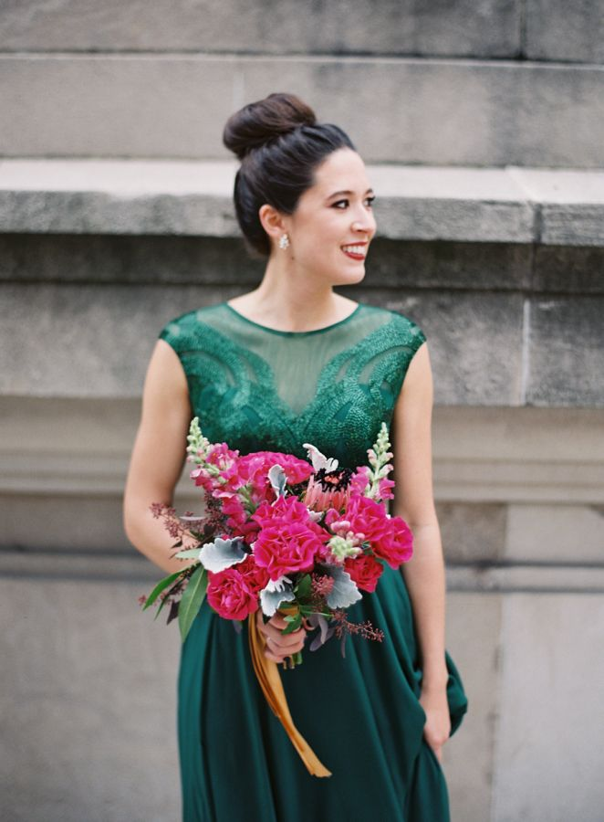 Gorgeous emerald jewel tone bridesmaid gown: http://www.stylemepretty.com/2016/04/19/jewel-tone-wedding-palette-see-how-its-done/ | Photography: Clary Pfeiffer - http://claryphoto.com/