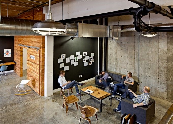 Casual Meeting Area. Like Black Pin board as opposed to always white... #office