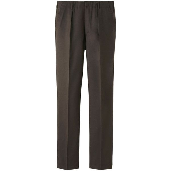 UNIQLO UNIQLO U Wool Pleated Trousers (68,865 KRW) ❤ liked on Polyvore featuring men's fashion, men's clothing, men's pants, men's dress pants, mens relaxed fit pants, mens wool pants, mens pleated pants, mens wool dress pants and mens pleated dress pants
