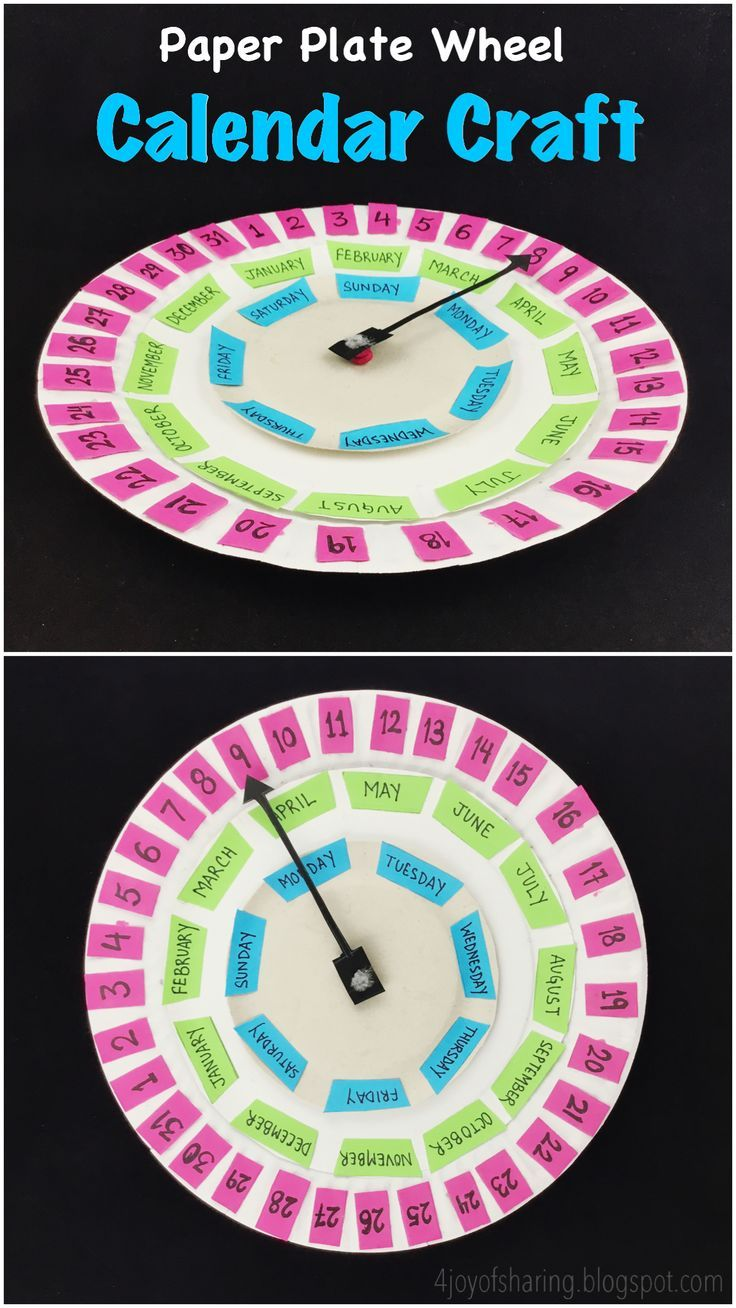 Paper Plate Wheel Calendar Simple Crafts For Kids Pinterest