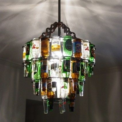 Sweet Mother of Chandeliers. I almost want to use Rekorderlig bottles for this. Or something multicoloured. Holiday- post uni project.